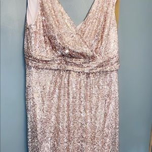 Sequin V-neck rose gold formal dress